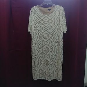 Tan w/ White Overlay Dress